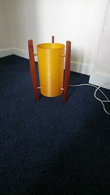 Small Vintage Retro Teak Rocket Table Lamp With Orange Fibreglass Lampshade