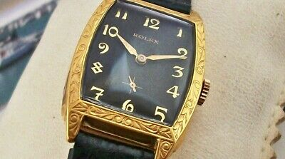 Vintage Rolex  - Lovely Art Deco Case - All 18K Gold Plated - Amazing Black Dial