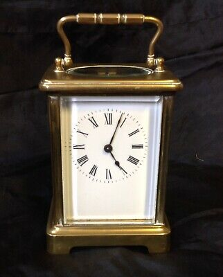Vintage / Antique Brass Carriage Clock, Wind Up 8 Day Brass Movement