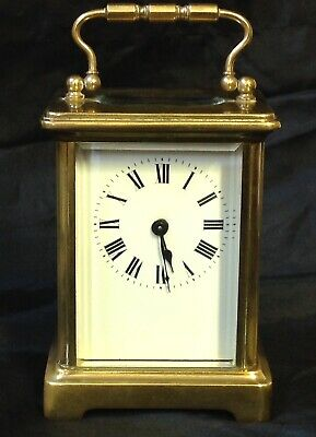 Vintage / Antique Brass Carriage Clock, 8 Day Brass Movement, With Key