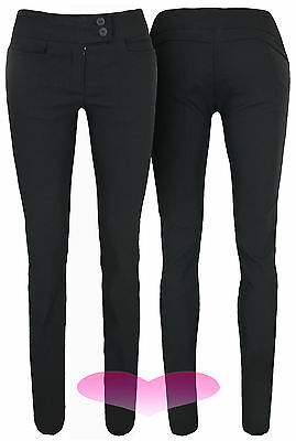 Ladies Girls Black Work School Office Trousers Stretch Fitted Skinny Pants 6-14.