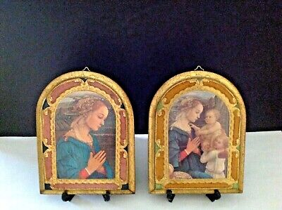 """Pair Vintage Italy/Italian Art Florentine Wood Wall Hanging (8""""H x 6""""W) Plaques"""