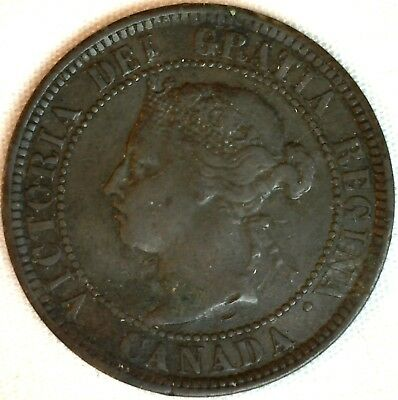 1884 Copper Canadian Large Cent One Cent Coin Net F #6