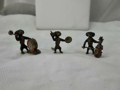 Dachshund Dog Band Trio Antique Vienna Austrian Bronze c1910 Drum Cymbal Base