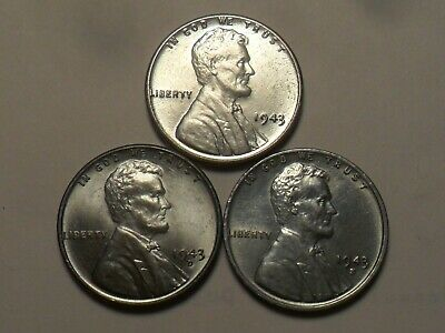 1943-Pds  Nice Steel Lincoln Cent 3-Coin Set!!!!