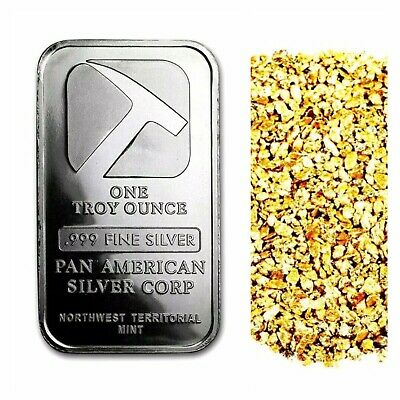 1 Troy Oz .999 Silver Pan American Bar Bu + 10 Piece Alaskan Pure Gold Nuggets