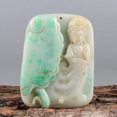 Chinese Exquisite Hand-carved Guanyin Carving jadeite jade Pendant