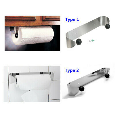 Paper Towel Holder Stainless Steel Cabinet Kitchen Bathroom Wall Mount