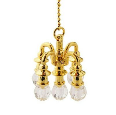 1:12 Dollhouse Miniature Furniture Room Accessories Golden Crystal Chandelier ^