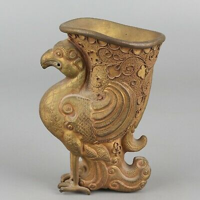 Chinese Exquisite Handmade Copper gilt Phoenix cup