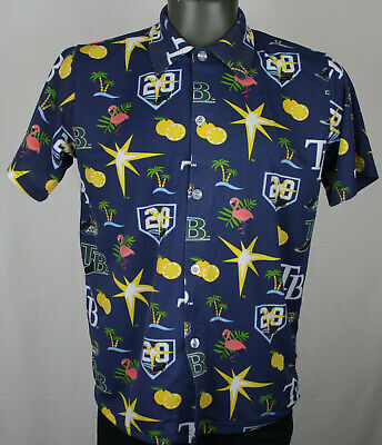 Tampa Bay Rays 20th Anniversary All Over Print SGA S/S Hawaiian Button Up Shirt