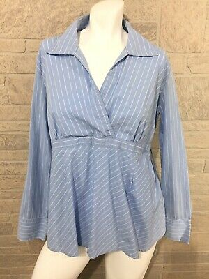 Oh! Mamma Blue White Striped Maternity Blouse Ties in back Collared Top Large