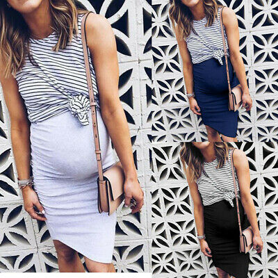 Women Pregnant Maternity Nursing Cotton Dress Stripe Breastfeeding Summer Dress