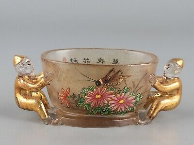 Chinese Exquisite Handmade flower insect pattern Glass cup