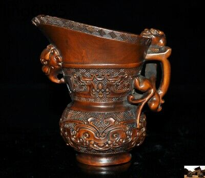 Antique China Boxwood wood hand carved beast head statue Wine vessel Goblet Cup