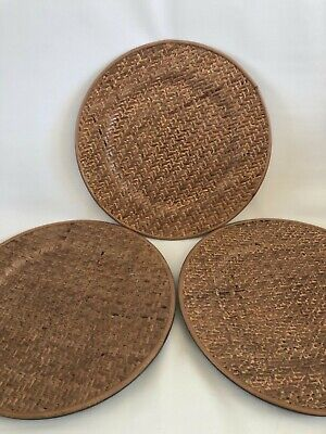 Rattan Wicker Charger Plates 13 Set Of 3 New