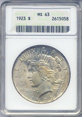 1923-P MS63 Peace Dollar $1 US Mint Silver 1923-P ANACS MS-63