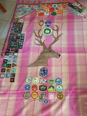 Scouting blanket with lots of badges