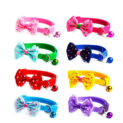 Adjustable Dog Cat Pet Cute Dot Bow Tie With Bell Puppy Kitten Necktie Collar