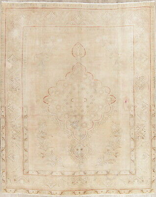 Persian Wool Rug Muted Hand-Knotted Oriental Floral Distressed Area Rug 8 x 10