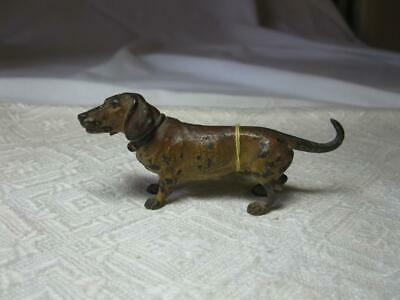 Austrian Vienna Bronze Dachshund Dog c1900 Bergmann Antique Miniature Dogs