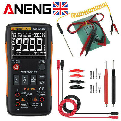 Digital Multimeter Button ANENG Q1 True-RMS 9999 Counts with Analog Bar Ammeter