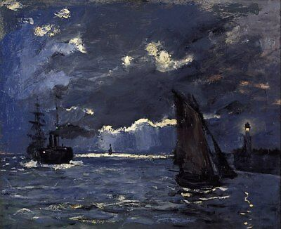 Handmade Oil Painting repro Claude Monet A Seascape, Shipping by Moonlight 20x24