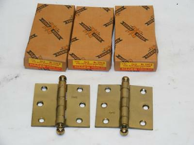 "3 - NOS Vtg Hager Hinge 3""x3""  Steel Ball Butts Bright Brass Unused"