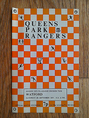 25/09/1971 QPR Vs Watford Football Match Programme