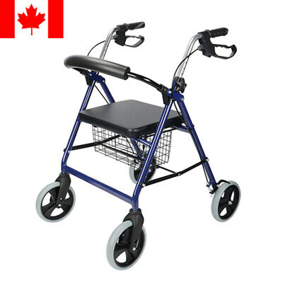 Drive Medical Blue Rollator Folding Walker Adult 4 Wheels 300lbs/136kgs, No tax