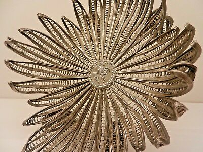 Antique Middle Eastern Silver plated Filigree Flower Bowl.