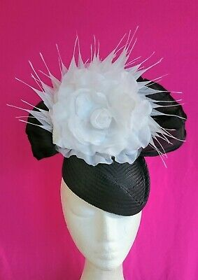 Black White Feathers Flower Hat Fascinator Races Wedding Melbourne Cup Derby Day