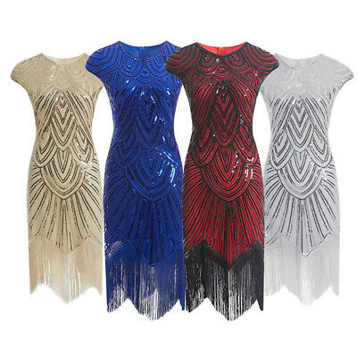 Vintage 1920's Flapper Dress Great Gatsby Charleston Sequin Beaded Disco Party