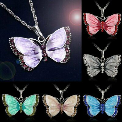 Vintage Butterfly Crystal Rhinestone Pendant Necklace Chain Women Jewelry Gift