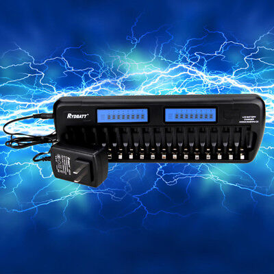 Recharger Smart Battery Charger 16 Slots LCD Intellicharge for NiMH NiCd AA AAA