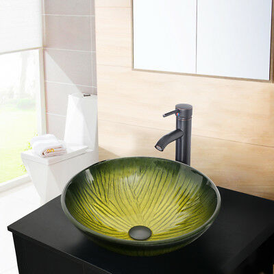 """Bathroom Vessel Sink Tempered Glass 16.5"""" Round Top Faucet Bronze W/ Drain Combo"""