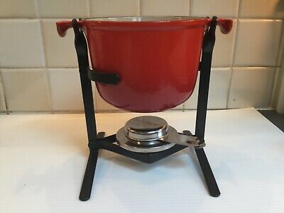 Le Creuset. Fabulous Vintage Red Fondue Pot And Stand.