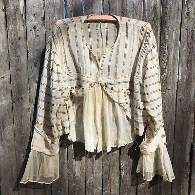 Antique Victorian Bodice Blouse Top Gauze Fabric Off White Nice