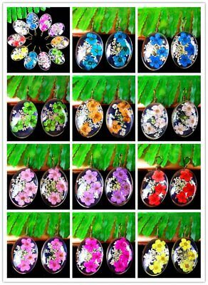 1Pcs Crystal Glass Dried Flower Alloy Insert Oval Pendant Bead 51*32*10mm AE5116