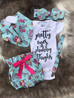 AU Stock Newborn Baby Girl Floral Outfit Short Sleeve Romper Tops+Shorts Clothes