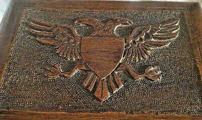 Rare Carved 2 Headed Imperial Eagle Solid Wood Casket/box Hittite/roman/russia
