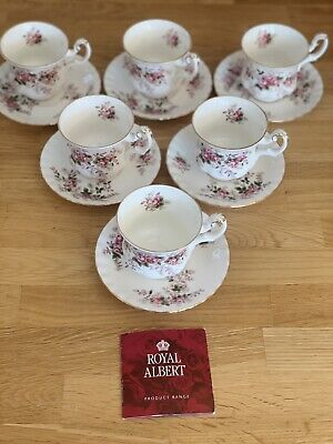 Set of 6 Royal Albert Lavender Rose Coffee Cups & Saucers, England, Never Used