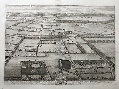 1724 Antique Print; Rare & Large; Haughton House, Nottinghamshire - Knyff & Kip