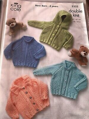 """King Cole Knitting Pattern: Baby/Childs Cardigans & Sweater, DK, 16-24"""" 3352"""