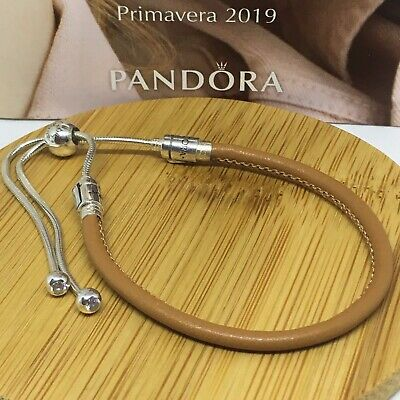 Sterling Silver Pulsera MOMENTS DESLIZANTE EN CUERO ALE S925 Genuine Pandora bag