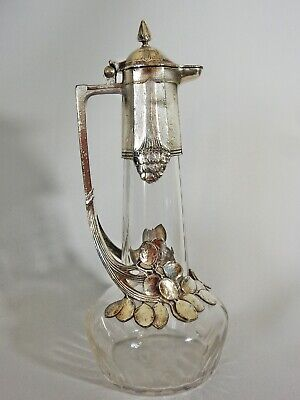 Antique Art Nouveau 1904 WMF Silver Plate Liqueur Wine Decanter Carafe Jug Glass