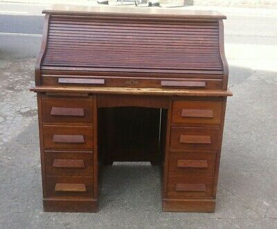 Solid Oak Tambour Front Roll Top Desk with Drawers