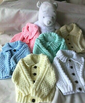 Hand Knitted Baby 0-3 month Aran Cardigan / Jacket In 6 Colours