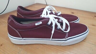 Vans Off The Wall Trainers Mens Size 9 UK Burgandy Nice Condition.