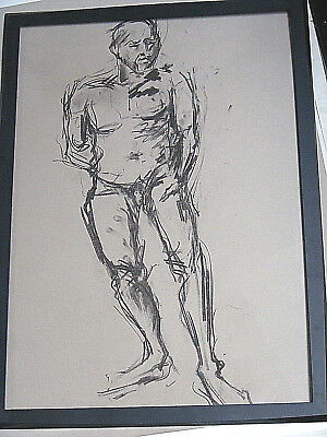 Figure life drawing nude expressive, charcoal/paper, man standing  A1/A2 size @
